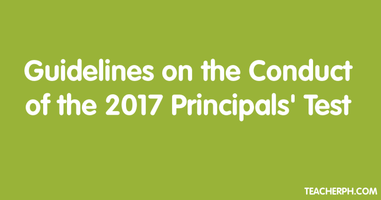 Guidelines on the Conduct of the 2017 Principals' Test