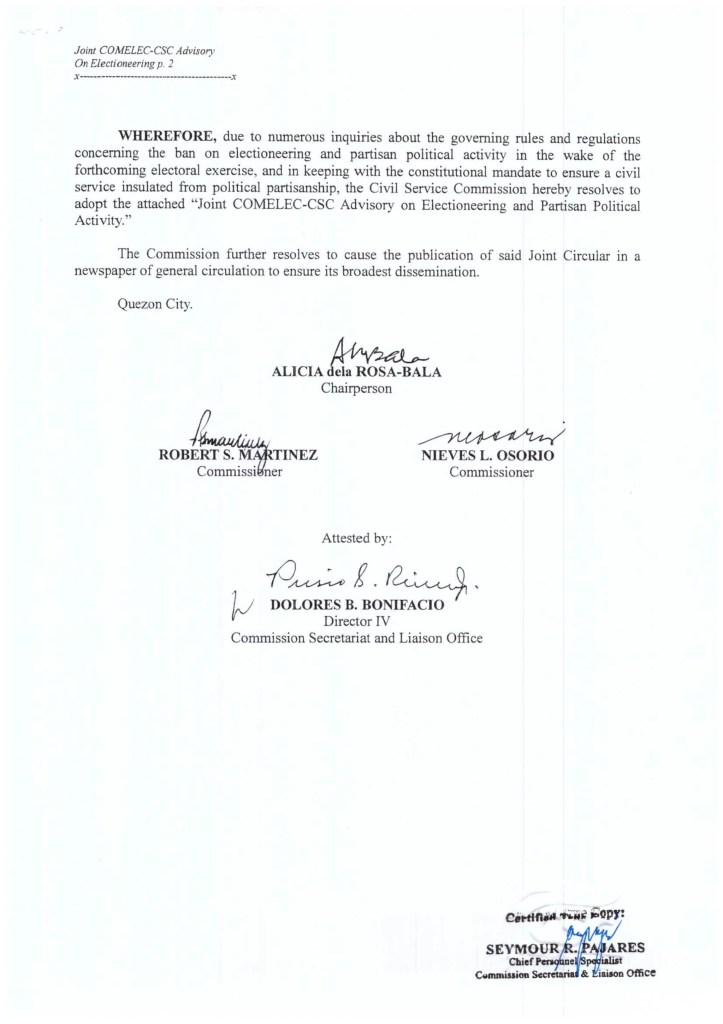 Civil Service Commission (CSC) Advisory on Electioneering and Partisan Political Activity
