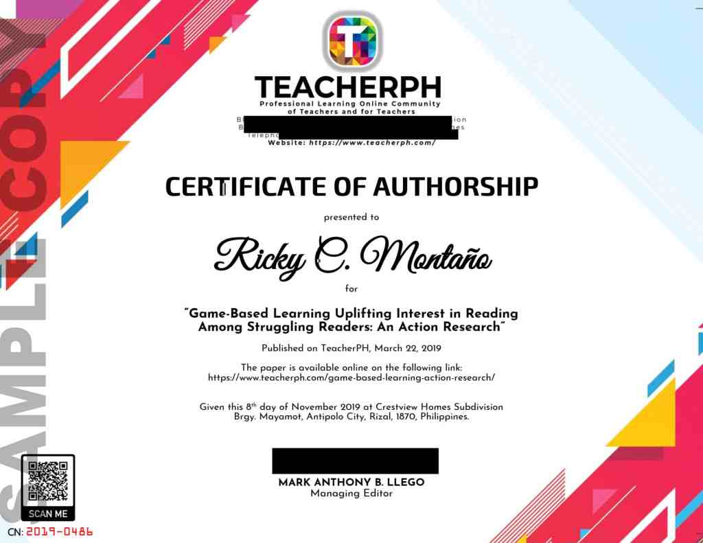Sample Certificate of Authorship