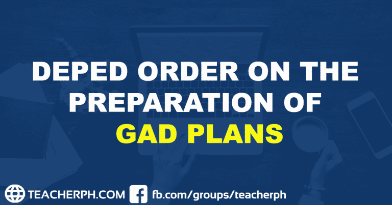 DEPED ORDER ON THE PREPARATION OF GAD PLANS