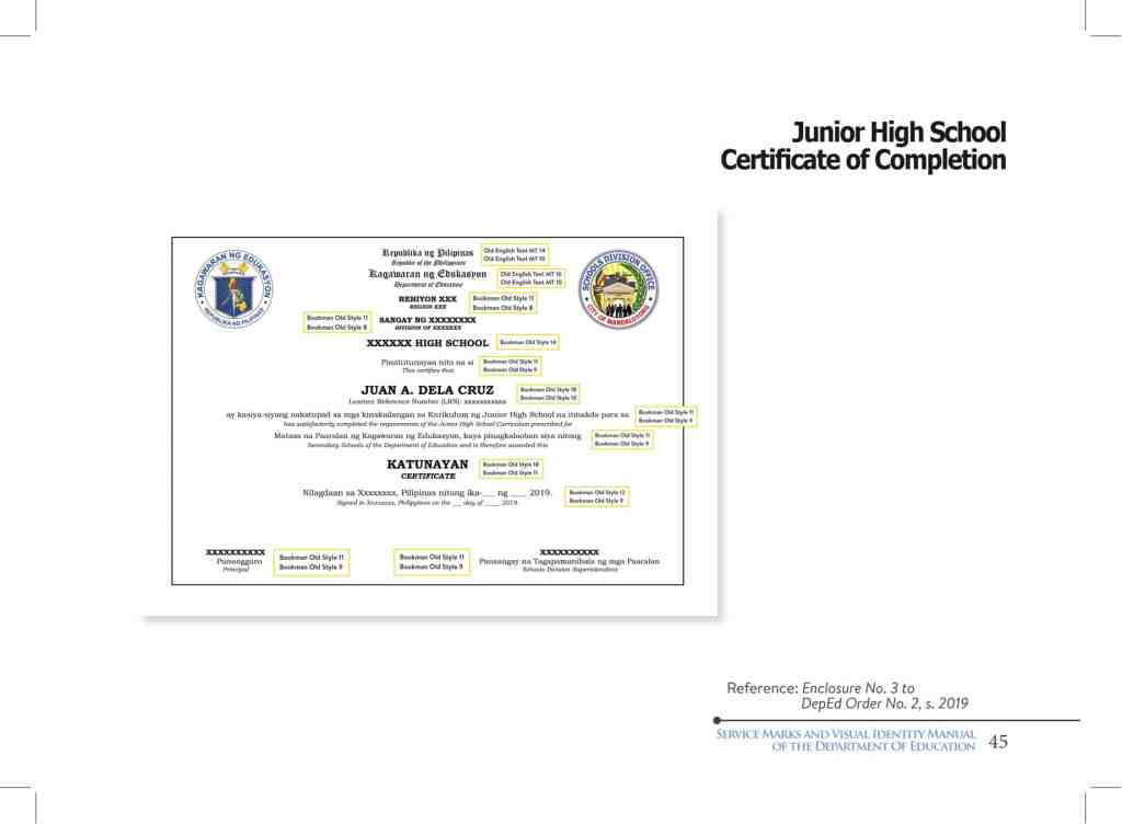 DepEd Junior High School Certificate of Completion