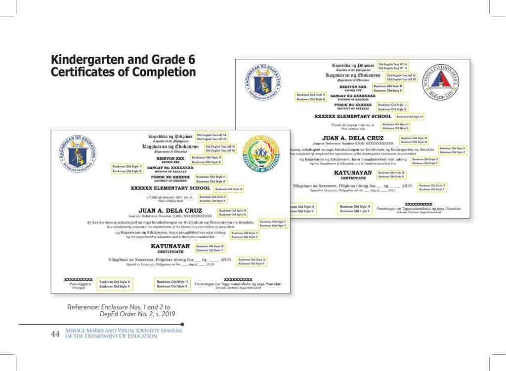 DepEd Kindergarten and Grade 6 Certificates of Completion