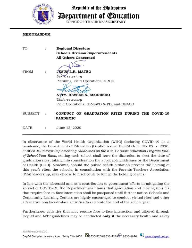 DepEd Memorandum on the Conduct of Graduation Rites During the COVID-19 Pandemic