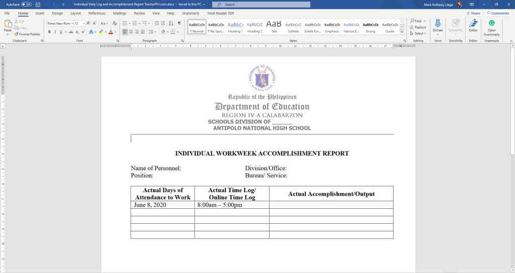 DepEd Individual Daily Log and Accomplishment Report and Workweek Plan