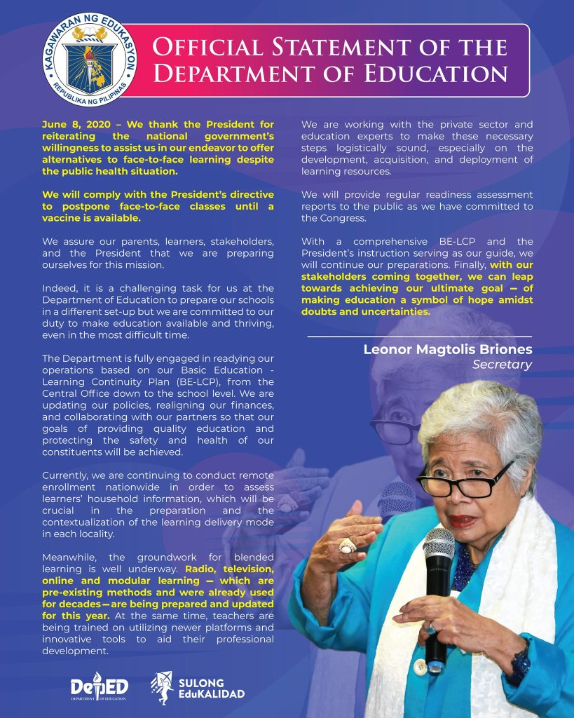 DepEd Official Statement on the President's Directive to Postpone Face-To-Face Classes