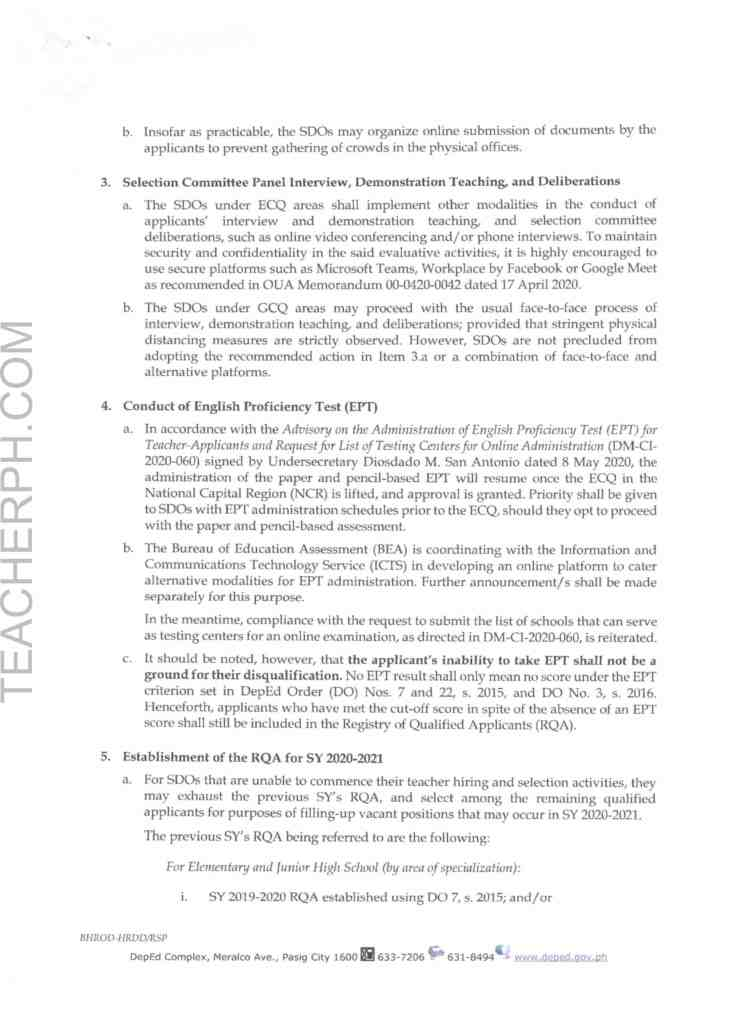 DepEd Memorandum on Additional Instructions on Teacher Hiring in View of the COVID-19 Situation
