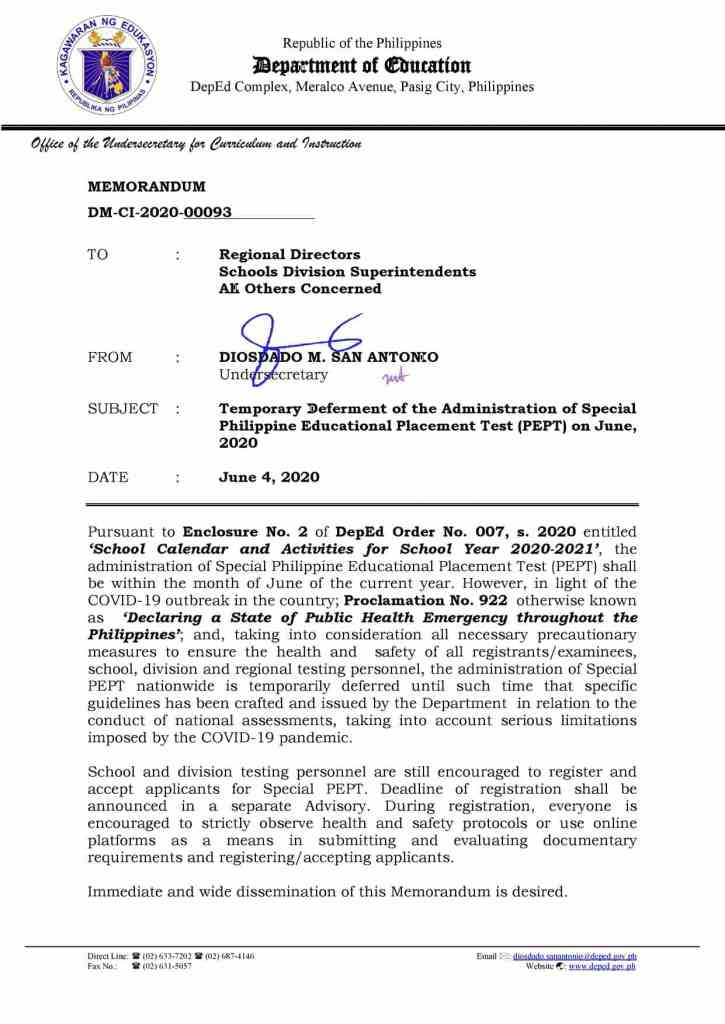 Temporary Deferment of the Administration of PEPT on June 2020