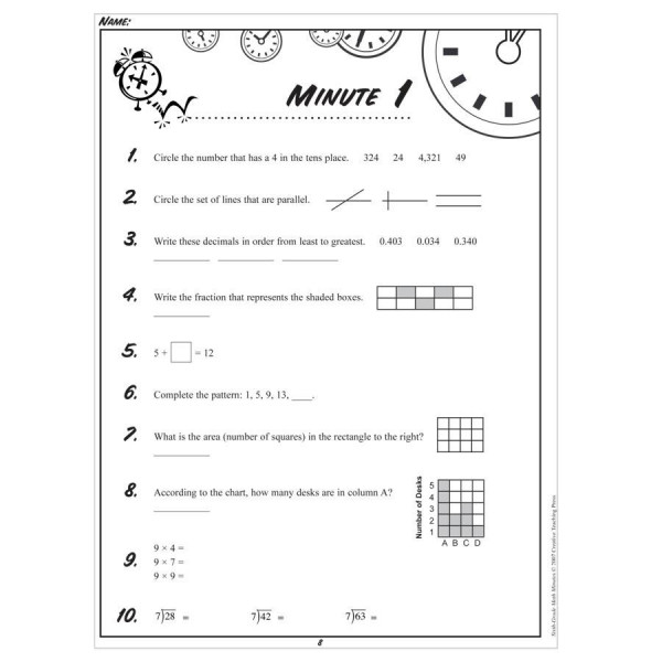 Math Minutes- Sixth Grade