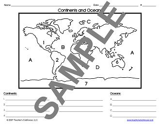 Continents Oceans Map