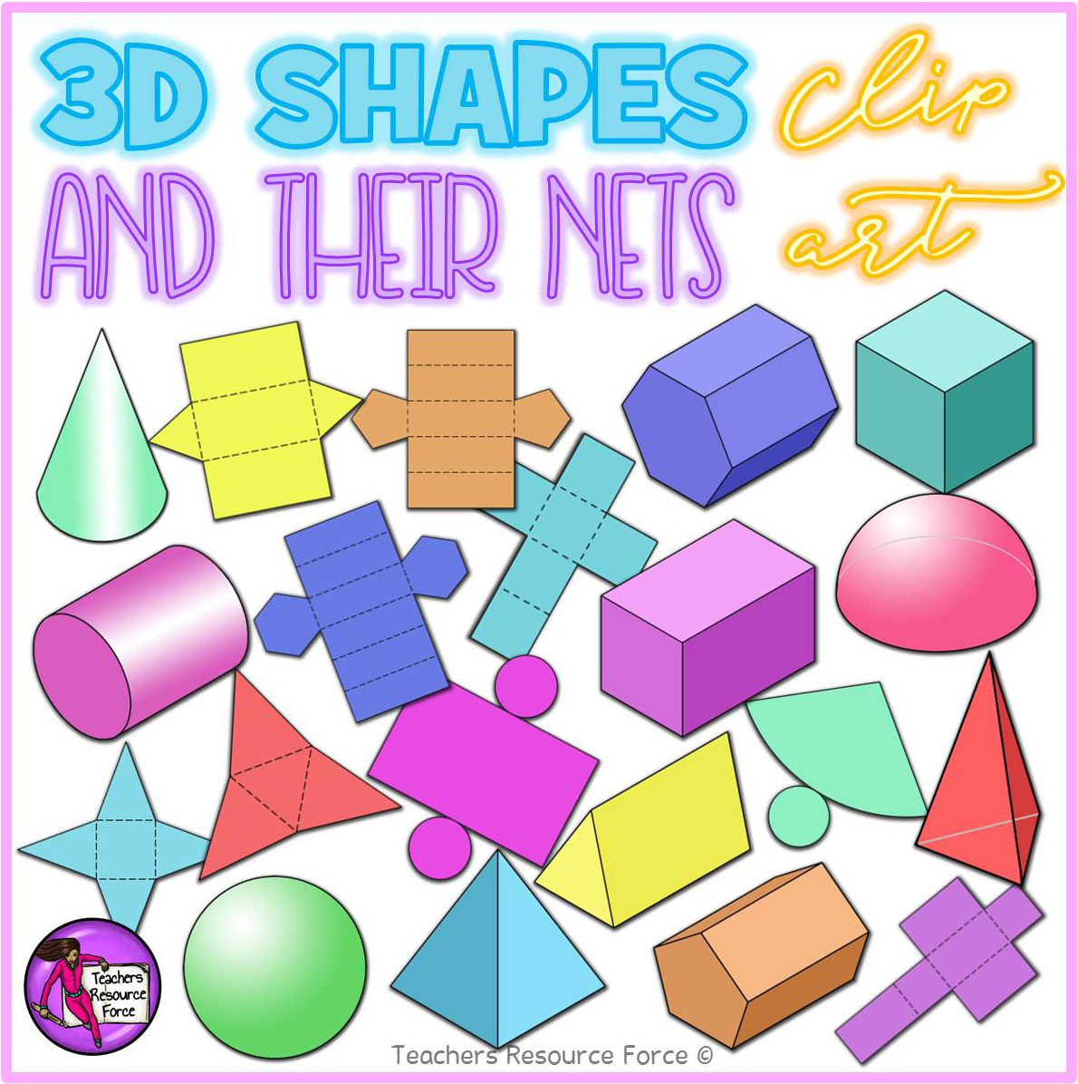 3d Shapes Amp Their Nets Clip Art