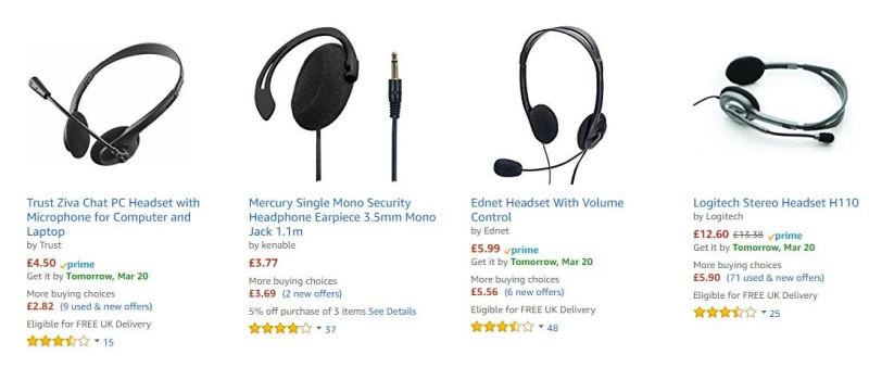 Cheap head set image from Amazon