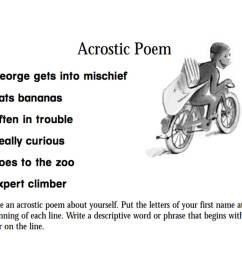 Curious George: An Acrostic Poem Printable (Pre-K - 3rd Grade) -  TeacherVision [ 1000 x 1200 Pixel ]