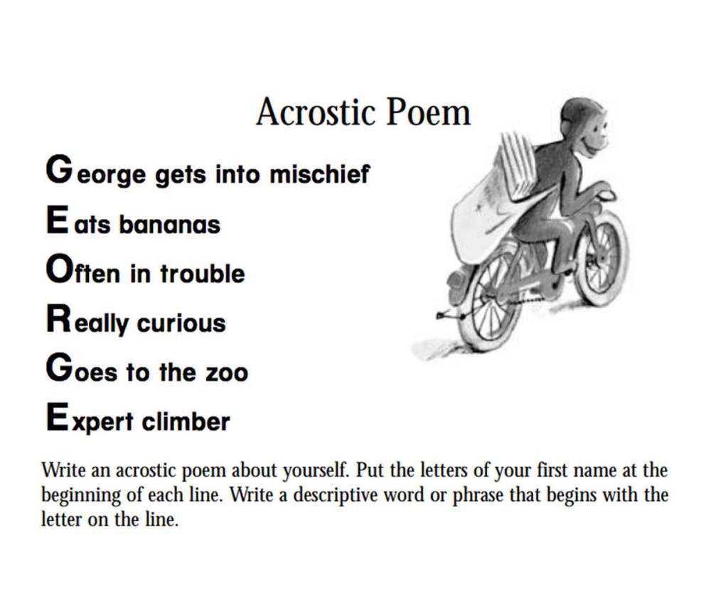 medium resolution of Curious George: An Acrostic Poem Printable (Pre-K - 3rd Grade) -  TeacherVision