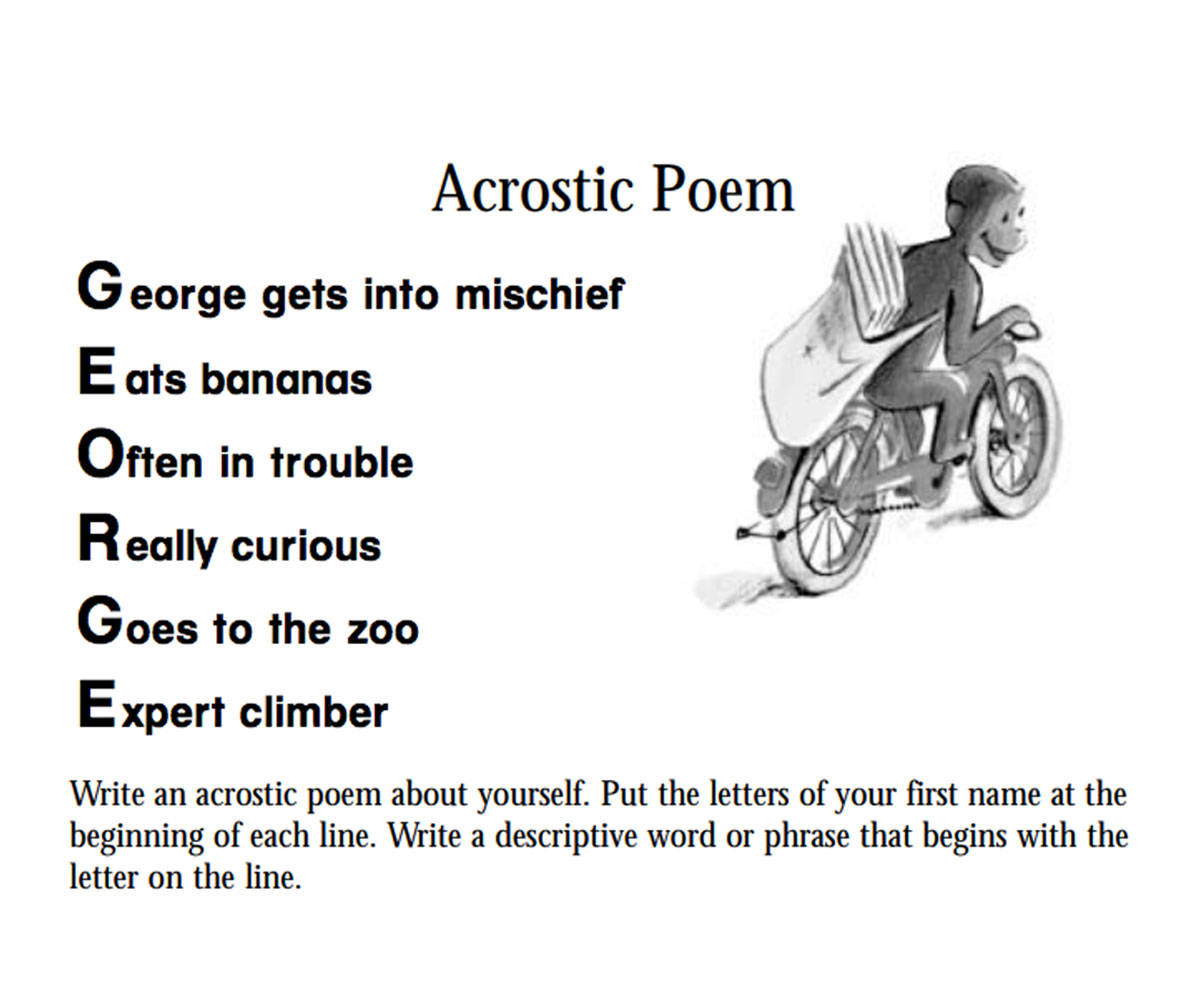 hight resolution of Curious George: An Acrostic Poem Printable (Pre-K - 3rd Grade) -  TeacherVision