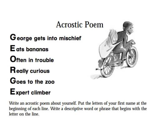 small resolution of Curious George: An Acrostic Poem Printable (Pre-K - 3rd Grade) -  TeacherVision