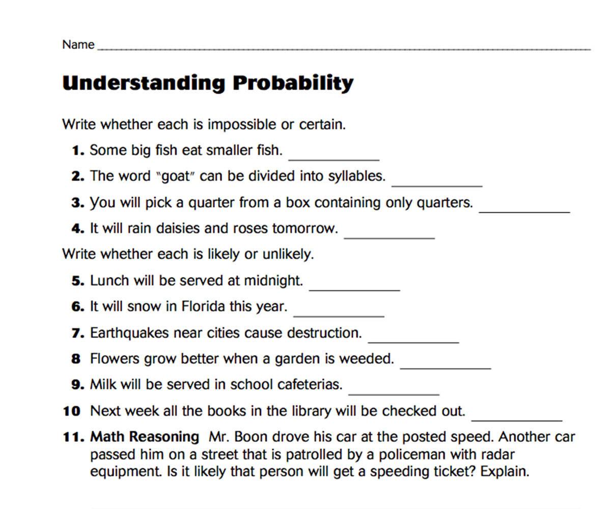 hight resolution of Understanding Probability - TeacherVision