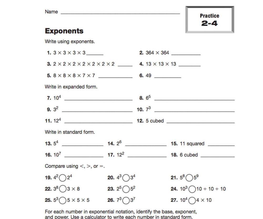 medium resolution of Expressions and Exponents Resources   TeacherVision