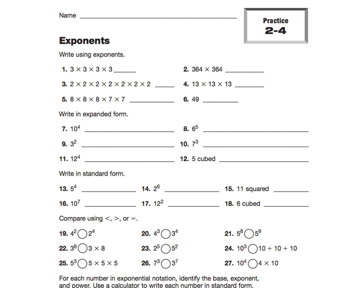 hight resolution of Expressions and Exponents Resources   TeacherVision