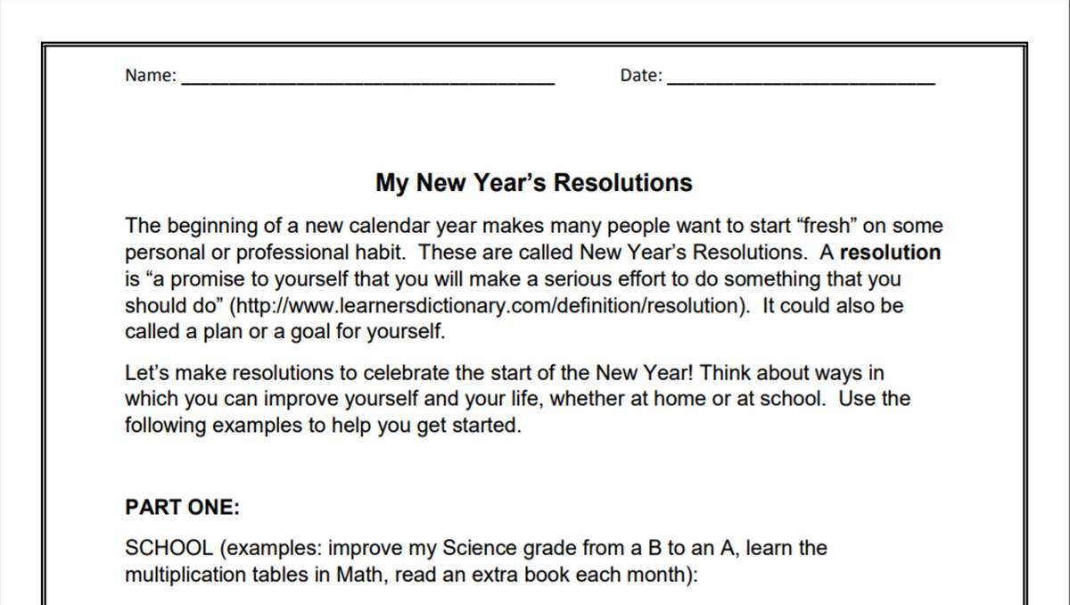 hight resolution of My New Year's Resolutions (3-6)   Goal-Setting Activity   Holiday Printable  - TeacherVision