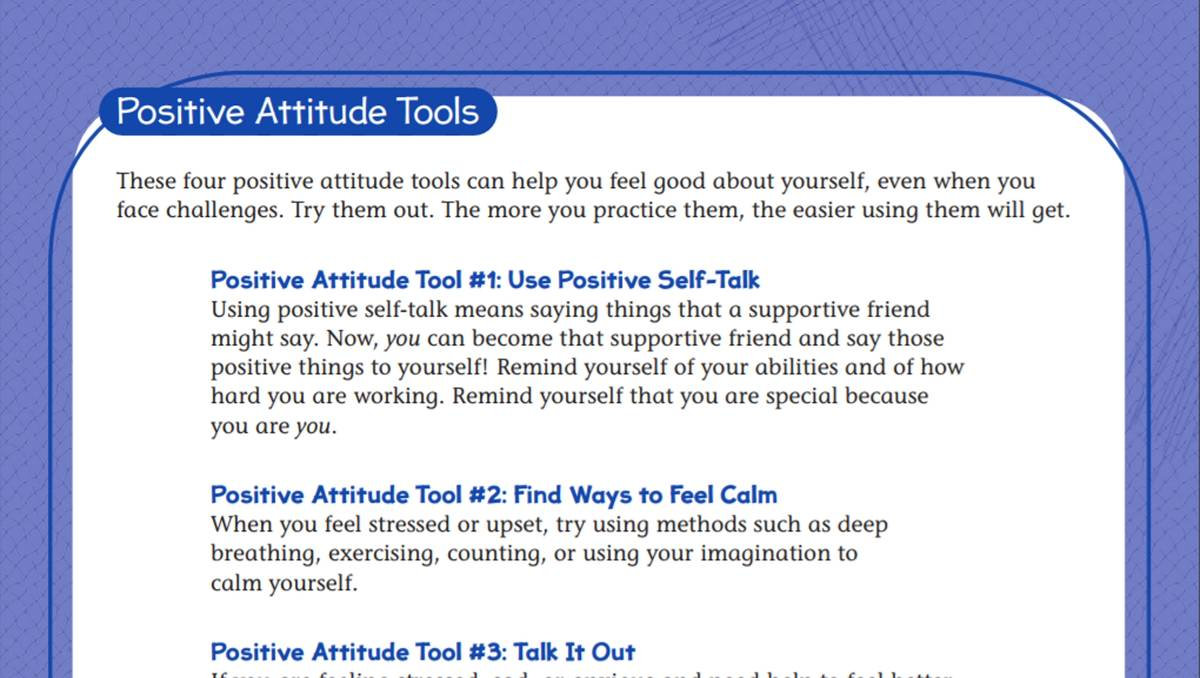 hight resolution of Tools for A Positive Attitude Student Worksheet - TeacherVision
