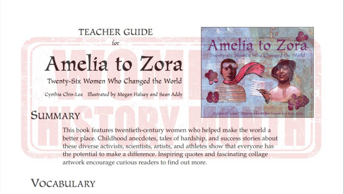 hight resolution of Amelia to Zora Teacher Guide - Literature Printable