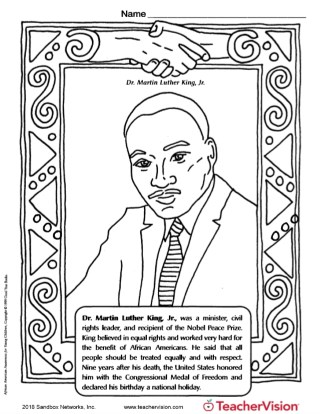 Martin Luther King Jr Coloring Page: Black History Month