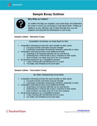 Sample Essay Outlines TeacherVision