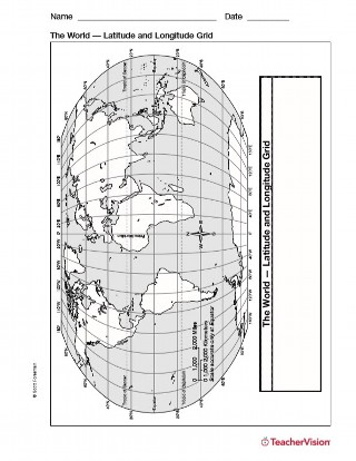 Latitude and Longitude Map Geography Printable 3rd8th