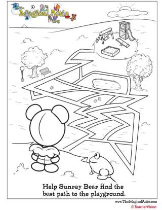 Magical Attic Sunray Bear Playground Maze Coloring Page