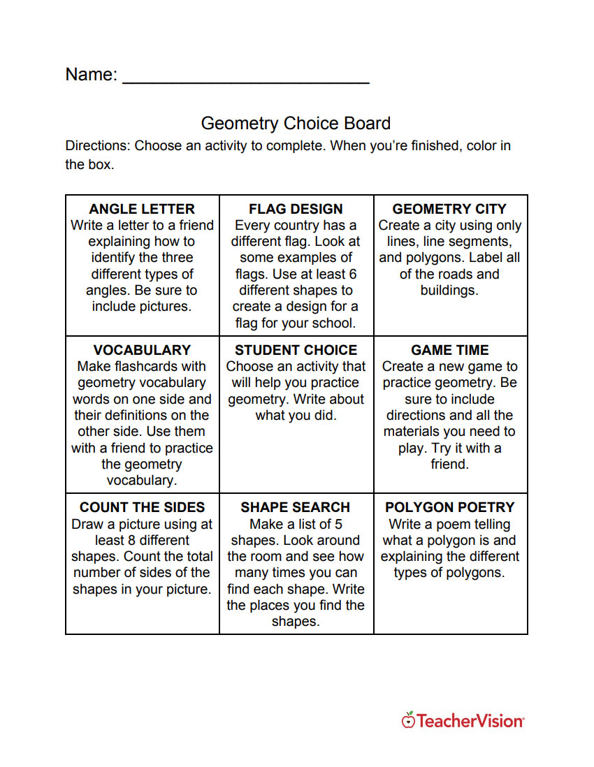 hight resolution of Three New Choice Boards For Your Math Classroom - TeacherVision