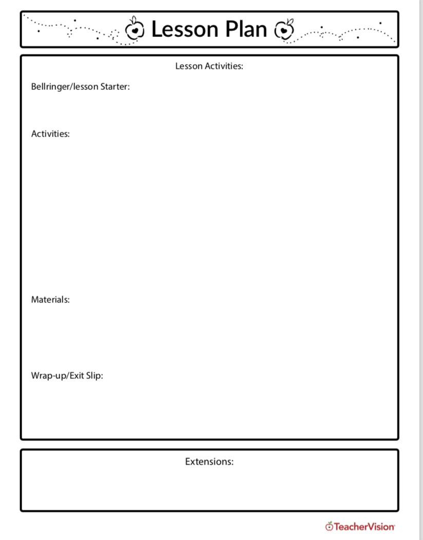 hight resolution of Lesson Planning Template - TeacherVision