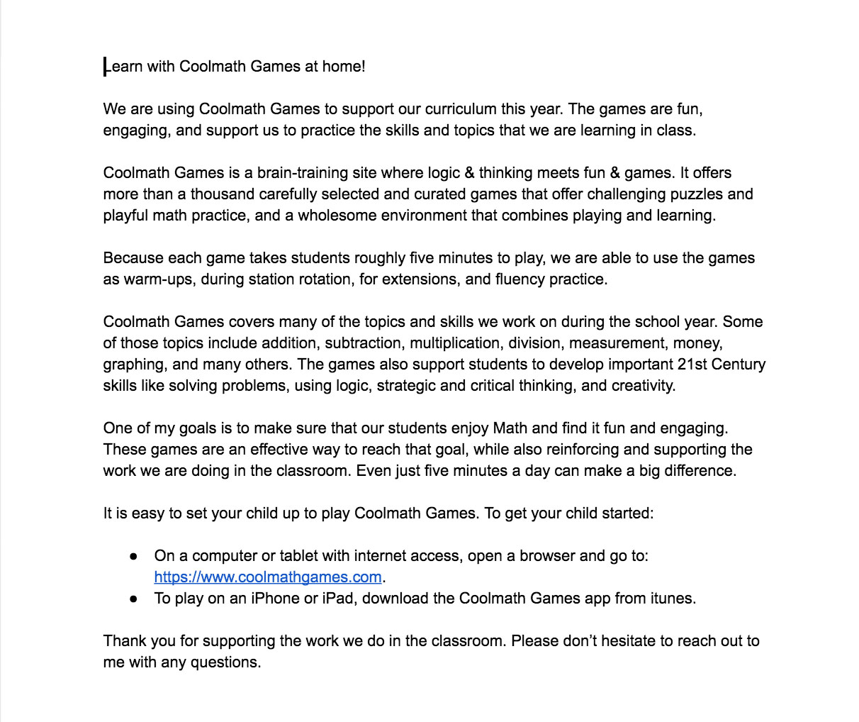 hight resolution of Coolmath Games Letter To Parents - TeacherVision