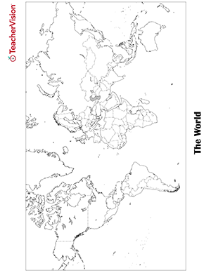 World Map (Black and White) Geography Printable