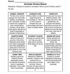 Animals Choice Board - TeacherVision [ 1310 x 1000 Pixel ]