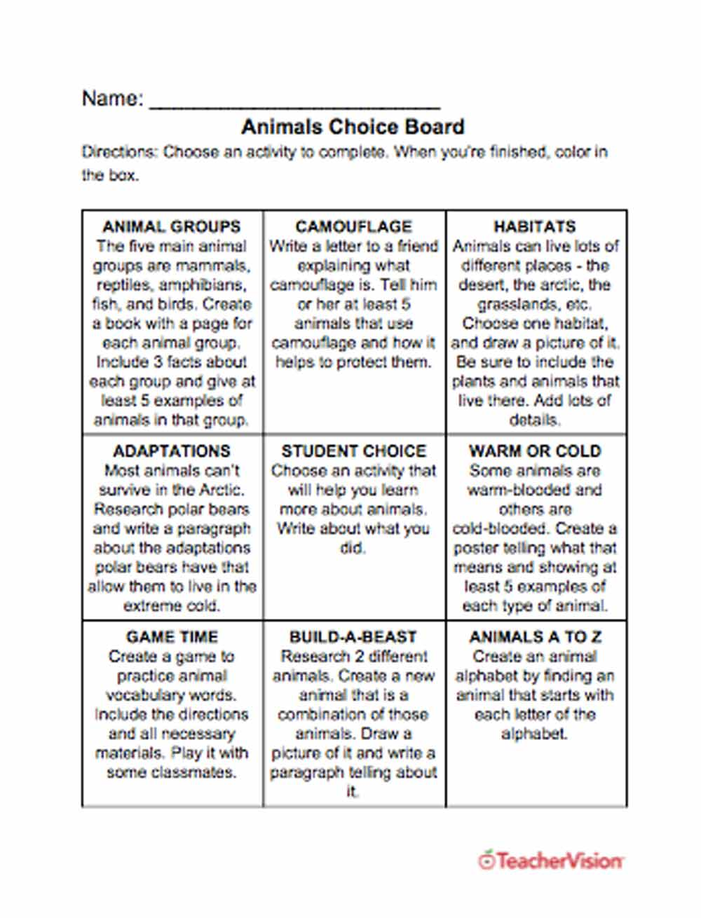 medium resolution of Animals Choice Board - TeacherVision