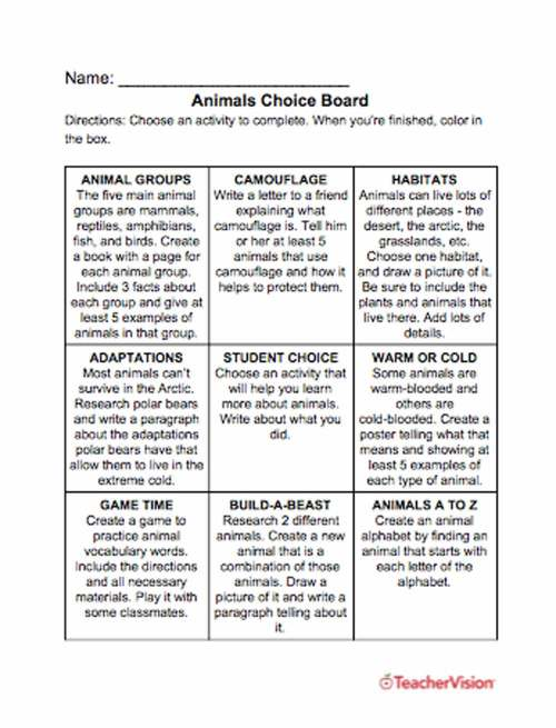 small resolution of Animals Choice Board - TeacherVision