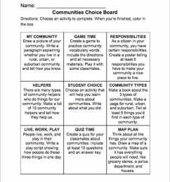 Communities Choice Board - TeacherVision [ 1280 x 1000 Pixel ]