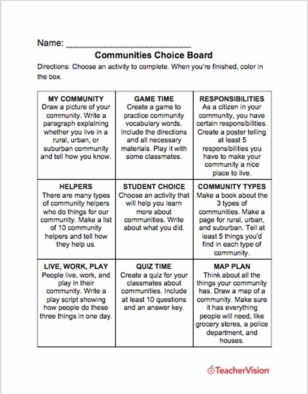 medium resolution of Communities Choice Board - TeacherVision