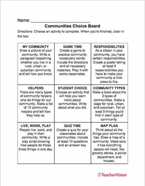 small resolution of Communities Choice Board - TeacherVision