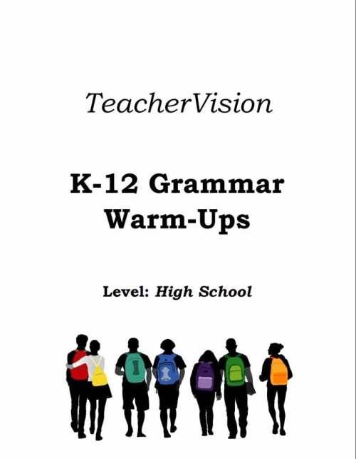 small resolution of High School Grammar Warm-Ups Packet - TeacherVision