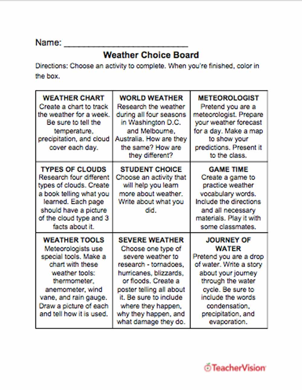 hight resolution of Weather Choice Board - TeacherVision