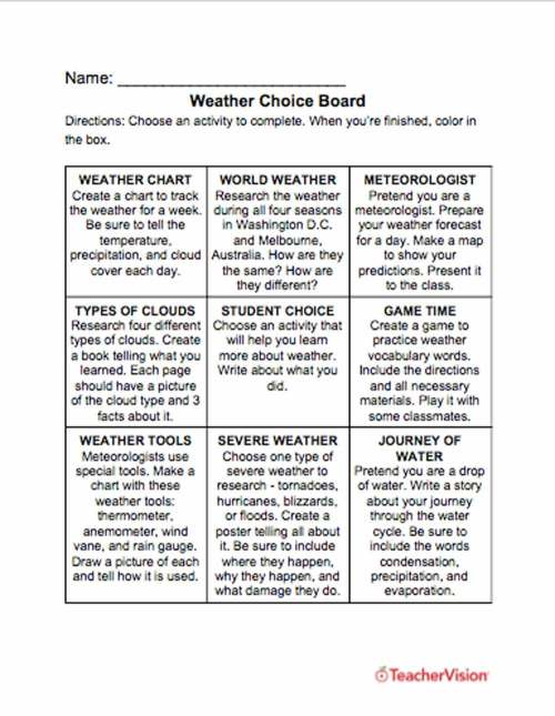 small resolution of Weather Choice Board - TeacherVision