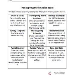 Math Thanksgiving Choice Board - TeacherVision [ 1291 x 1000 Pixel ]