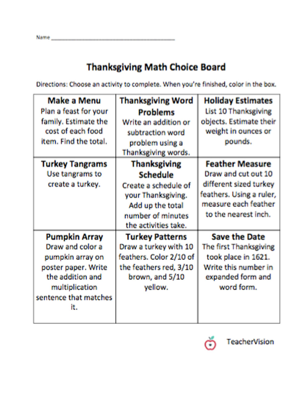 medium resolution of Math Thanksgiving Choice Board - TeacherVision