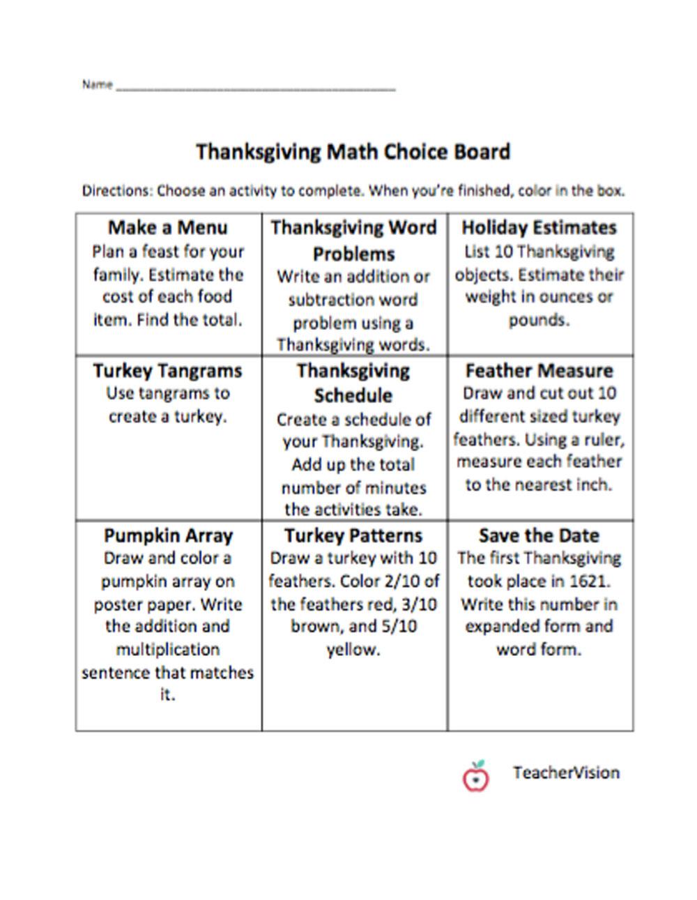 hight resolution of Math Thanksgiving Choice Board - TeacherVision