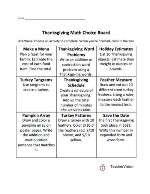 small resolution of Math Thanksgiving Choice Board - TeacherVision