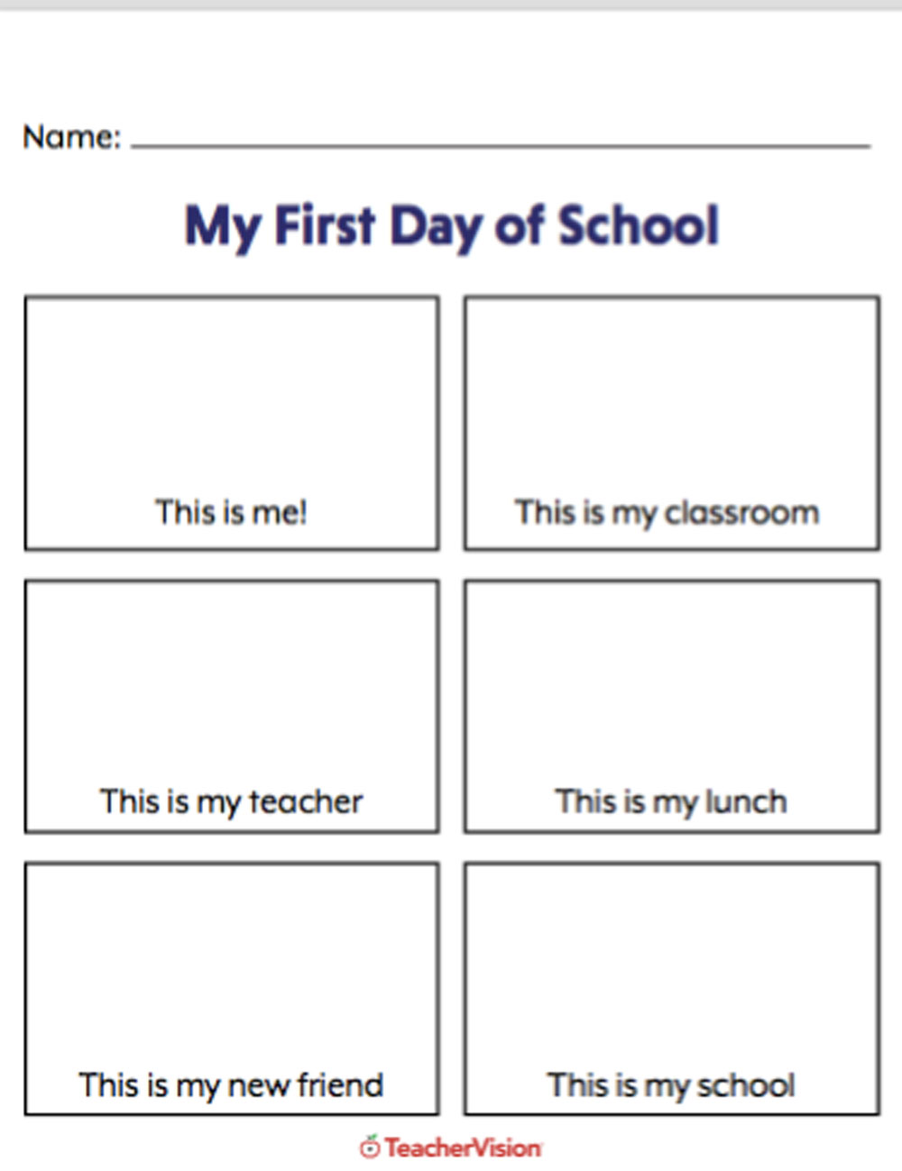medium resolution of My First Day of School Picture Activity - TeacherVision