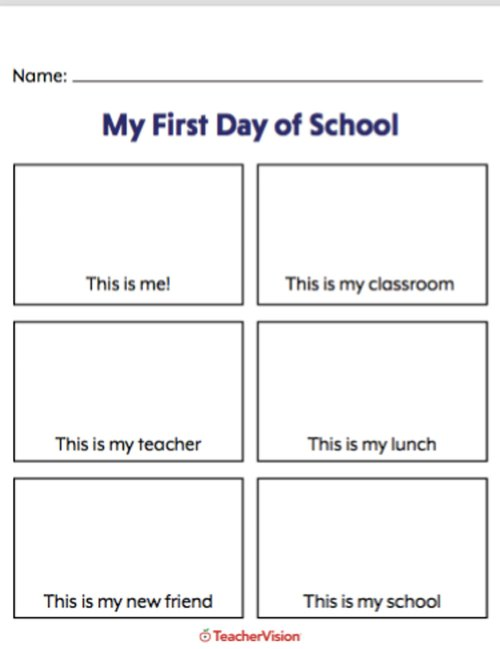 small resolution of My First Day of School Picture Activity - TeacherVision