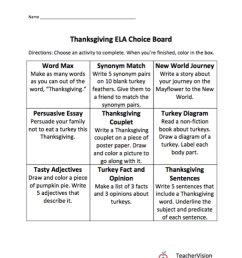 Thanksgiving Themed Choice Board - TeacherVision [ 1200 x 1000 Pixel ]