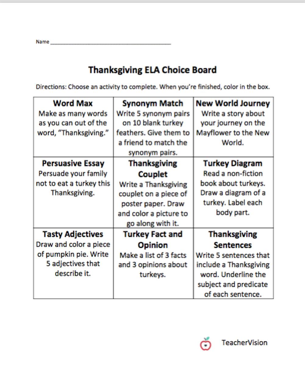 medium resolution of Thanksgiving Themed Choice Board - TeacherVision